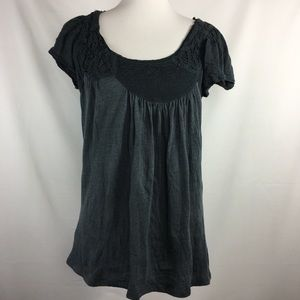 Anthropologie Grey Short Sleeve Soustache Top